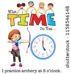 a girl practice archery at 5 o... | Shutterstock .eps vector #1158546148