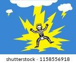 lightning strikes man. editable ... | Shutterstock .eps vector #1158556918
