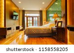 luxury bedroom with build in... | Shutterstock . vector #1158558205