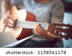 close up images of girl playing ... | Shutterstock . vector #1158561178