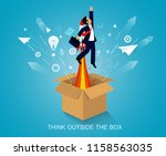 think outside the box.... | Shutterstock .eps vector #1158563035
