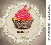 vintage frame with cupcake... | Shutterstock .eps vector #115856392