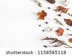 autumn composition. frame made... | Shutterstock . vector #1158585118