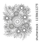 floral mandala pattern in black ... | Shutterstock .eps vector #1158611275