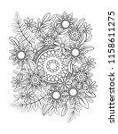 floral mandala pattern in black ... | Shutterstock .eps vector #1158611275