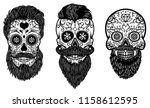 set of bearded mexican sugar... | Shutterstock . vector #1158612595