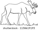 moose. doodle. continuous...   Shutterstock .eps vector #1158619195