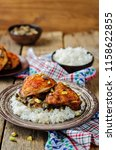 moroccan spiced chicken with... | Shutterstock . vector #1158622855