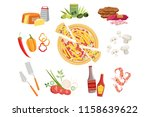 pizza ingredients and cooking... | Shutterstock .eps vector #1158639622