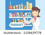 woman pharmacist demonstrating... | Shutterstock .eps vector #1158639778