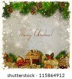 vintage christmas greeting card ... | Shutterstock .eps vector #115864912