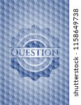 question blue hexagon badge. | Shutterstock .eps vector #1158649738