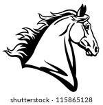 Stock vector horse head vector black and white picture side view image isolated on white background tattoo 115865128