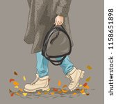 stylish female autumn clothing. ... | Shutterstock .eps vector #1158651898