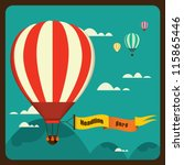 hot air balloon in the sky vector/ illustration / background/ greeting card