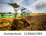 tractor working on the farm ... | Shutterstock . vector #1158661585