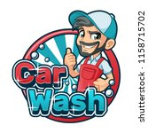 car wash cartoon logo character ... | Shutterstock .eps vector #1158715702