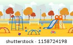 city autumn park with... | Shutterstock .eps vector #1158724198