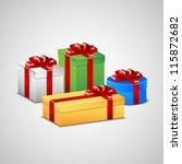 christmas presents in white ... | Shutterstock .eps vector #115872682