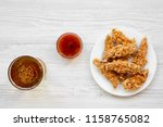 chicken strips with sauce and... | Shutterstock . vector #1158765082