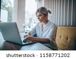 girl  sitting in a cafe  typing ... | Shutterstock . vector #1158771202