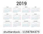 2019 year spanish calendar in... | Shutterstock .eps vector #1158784375