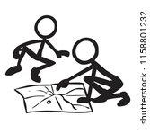 stick figure reading map | Shutterstock .eps vector #1158801232