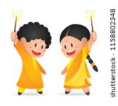 cute indian kids enjoying... | Shutterstock .eps vector #1158802348