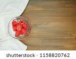 fresh red raspberry on wooden...   Shutterstock . vector #1158820762