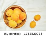 ripe organic apricots with... | Shutterstock . vector #1158820795