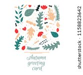 autumn greeting card in hand... | Shutterstock .eps vector #1158823642