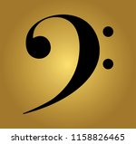 f  bass  clef on golden... | Shutterstock .eps vector #1158826465