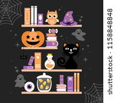 halloween holiday greeting card ... | Shutterstock .eps vector #1158848848