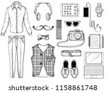 hand drawn sketch with hipster... | Shutterstock .eps vector #1158861748