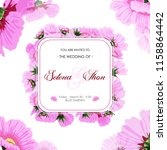 wedding card with pink flowers  ... | Shutterstock .eps vector #1158864442