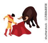 bullfighter awaiting for the... | Shutterstock .eps vector #1158868858