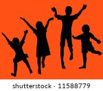black silhouettes of four... | Shutterstock . vector #11588779