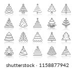 christmas tree thin line icons...