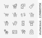 shopping cart vector line icons ... | Shutterstock .eps vector #1158885958