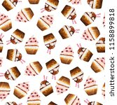 seamless pattern with cream and ... | Shutterstock . vector #1158899818