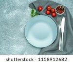 blank flat gray plate  fork on... | Shutterstock . vector #1158912682