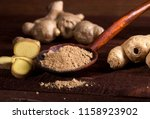 ginger root and ginger powder...   Shutterstock . vector #1158923902