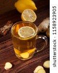 ginger tea with lemon on a...   Shutterstock . vector #1158923905