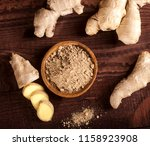 ginger root and ginger powder...   Shutterstock . vector #1158923908