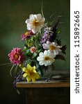 Small photo of Still life with a voluptuous bunch of flowers