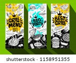 barbecue banner posters grilled ... | Shutterstock .eps vector #1158951355