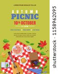autumn picnic  vector poster ... | Shutterstock .eps vector #1158962095