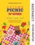 autumn picnic  vector poster ... | Shutterstock .eps vector #1158962098