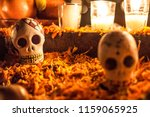 Stock photo skull in a cemetery in janitzio mexico day of the dead 1159065925