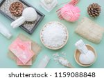 top view of spa set consisted... | Shutterstock . vector #1159088848